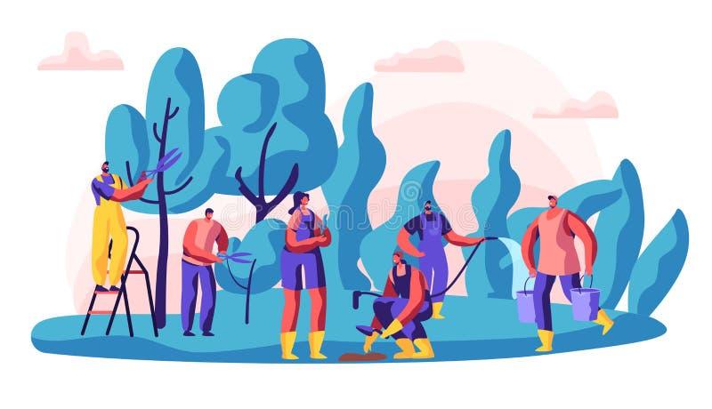 Jardinier Characters au travail Fonctionnement d'homme et de femme à l'arbre et aux usines croissants de jardin avec des outils C illustration stock