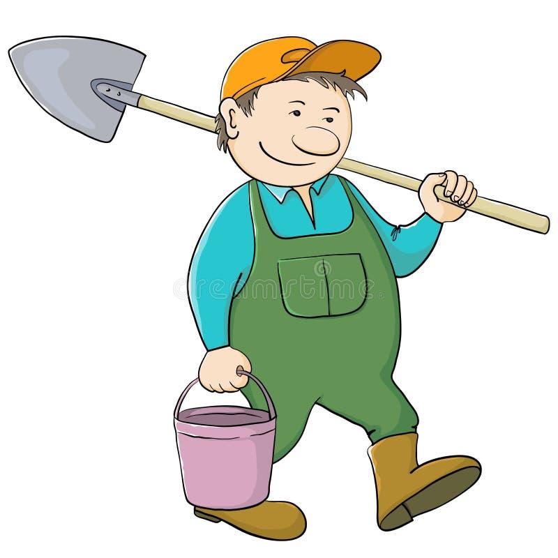 Jardinier d'homme avec la position et la pelle illustration de vecteur