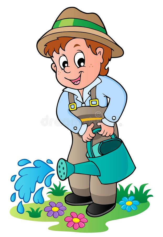 Jardinier de dessin animé avec le bidon d'arrosage illustration stock