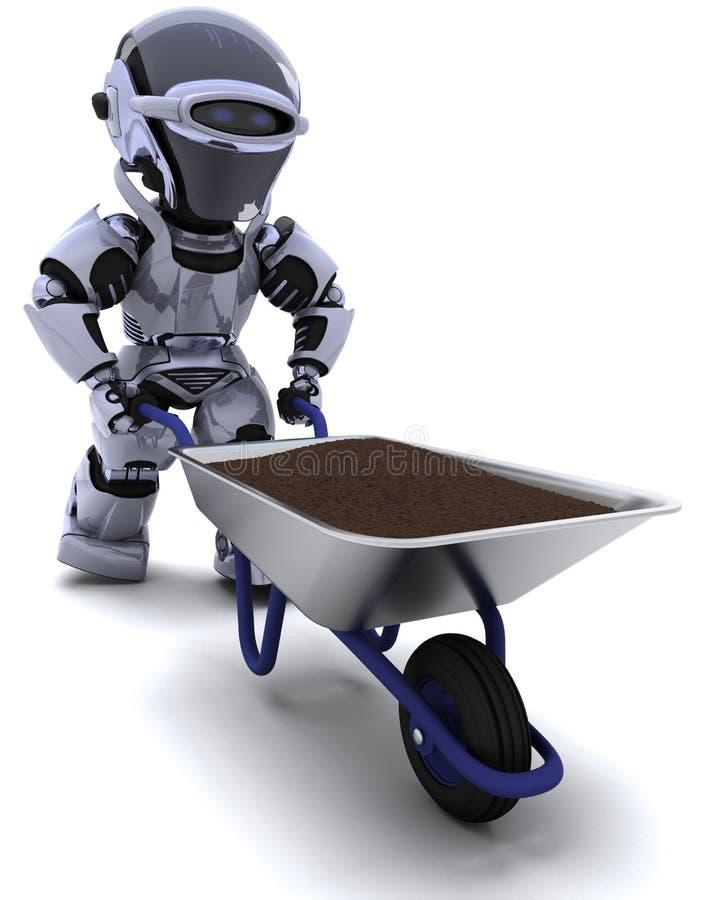 Jardinier de robot avec une saleté de transport de brouette de roue illustration stock