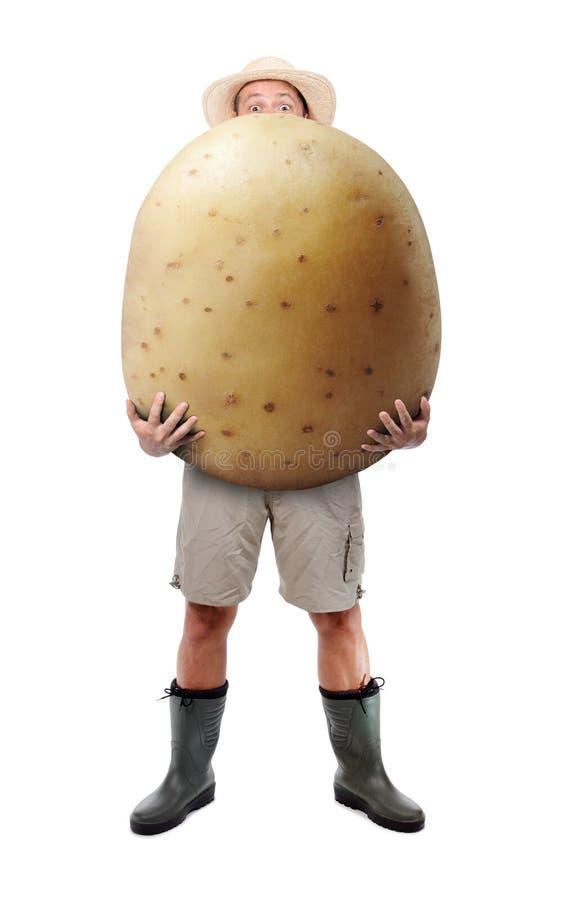 Jardinier drôle portant une grande pomme de terre photo stock