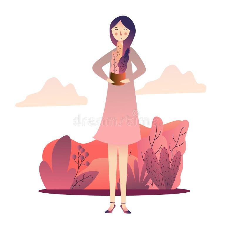 Jardinier féminin de sourire jugeant les usines mises en pot d'isolement sur le fond blanc illustration stock