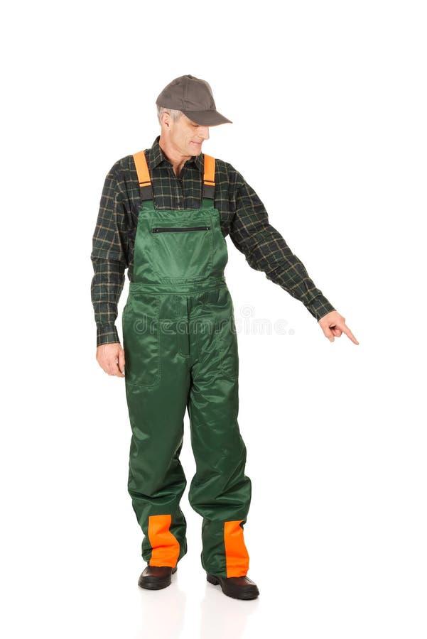 Jardinier mûr dans l'uniforme se dirigeant vers le bas image stock