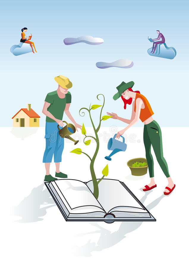 Jardiniers de livres illustration stock
