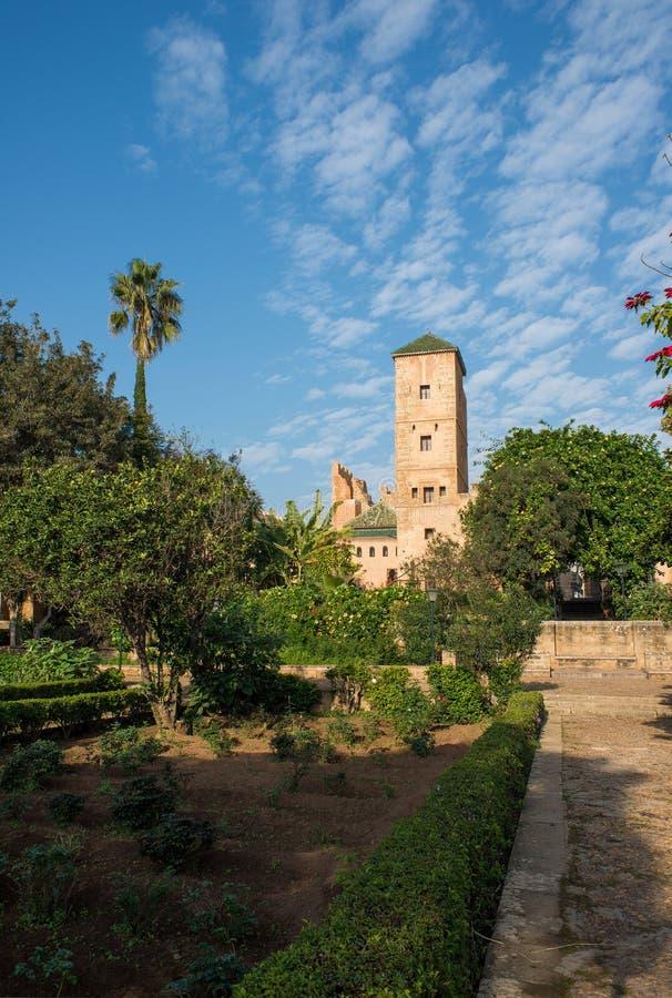 Jardins andaluzes no kasbah de Udayas rabat marrocos fotografia de stock royalty free