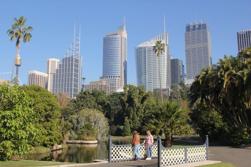 Jardins botaniques avec l'horizon de Sydney photos libres de droits