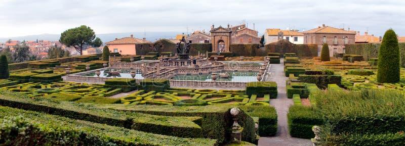 Jardins da casa de campo Lante Bagnaia Itália imagens de stock