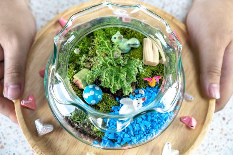 Jardins de bouteille d'un plat en bois images libres de droits