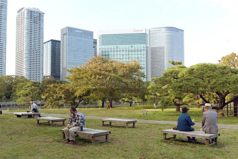 Jardins de Hamarikyu, Tokyo imagens de stock