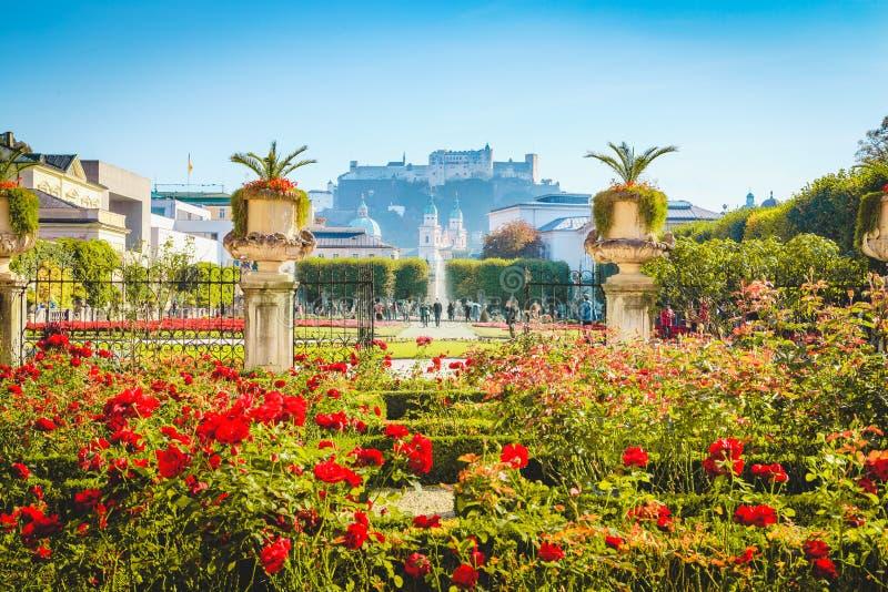 Jardins de Mirabell avec la forteresse de Hohensalzburg à Salzbourg, Autriche photos libres de droits