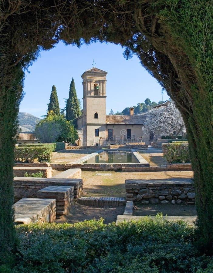 Jardins do palácio de Alhambra em Granada fotografia de stock