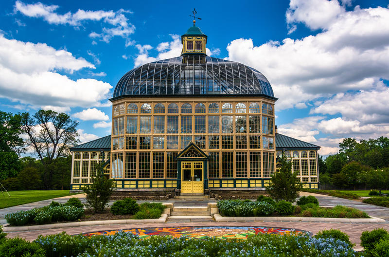 Jardins e Howard Peters Rawlings Conservatory na druida Hil foto de stock