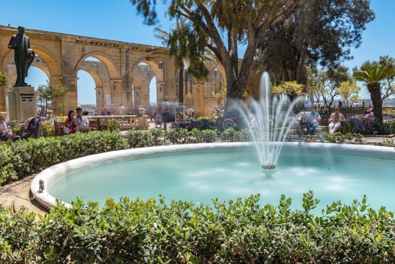 Jardins supérieurs de Barrakka en La Valleta, Malte photographie stock libre de droits
