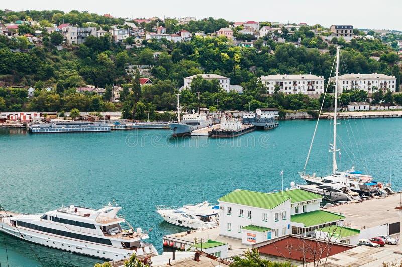 Jardy i dok stocznia w Sevastopo obrazy royalty free