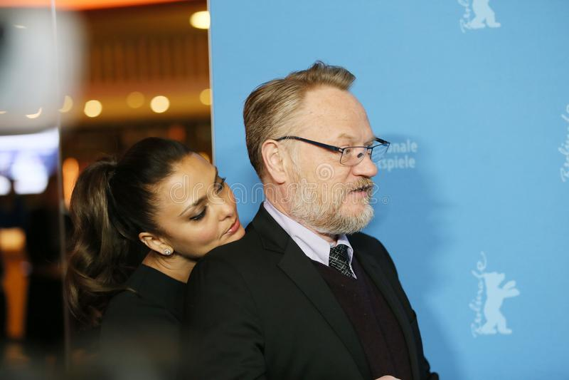 Jared Harris en zijn vrouw Allegra Riggio stock afbeelding