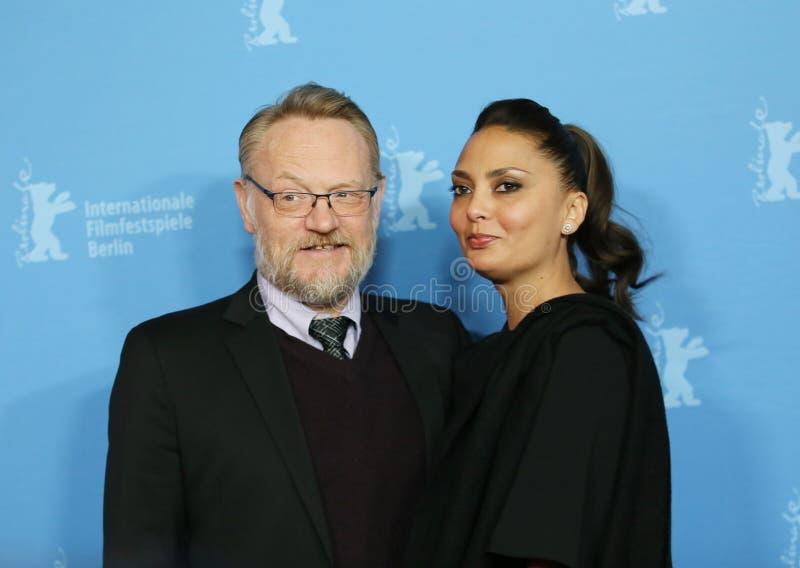 Jared Harris und seine Frau Allegra Riggio lizenzfreie stockfotografie