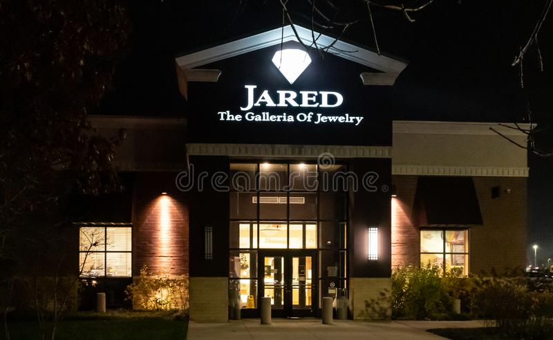 Jared Jewelry Frontage Eatontown. New York City, United States - November 19 2018: Night shot of Jared Jewelry shop frontage at Monmouth Mall stock images