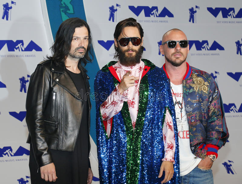 Jared Leto, Shannon Leto and Tomo Milicevic of Thirty Seconds to Mars. At the 2017 MTV Video Music Awards held at the Forum in Inglewood, USA on August 27, 2017 royalty free stock images