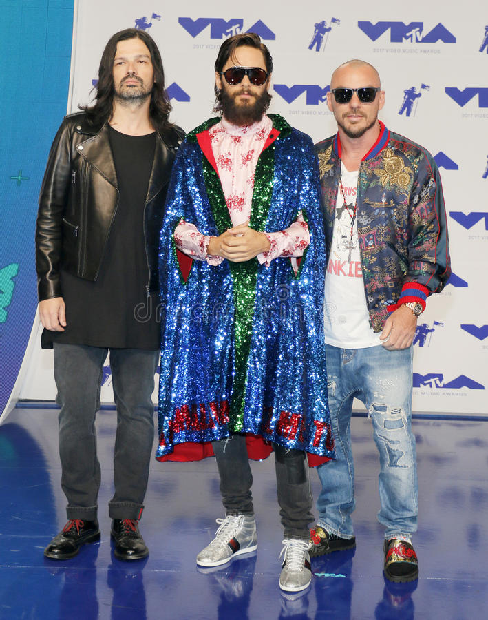 Jared Leto, Shannon Leto and Tomo Milicevic of Thirty Seconds to Mars. At the 2017 MTV Video Music Awards held at the Forum in Inglewood, USA on August 27, 2017 royalty free stock photography