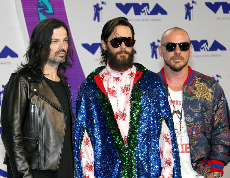 Jared Leto, Shannon Leto and Tomo Milicevic of Thirty Seconds to Mars. At the 2017 MTV Video Music Awards held at the Forum in Inglewood, USA on August 27, 2017 royalty free stock photo
