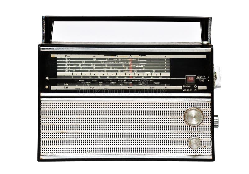 jaren '60 retro radio over wit wordt geïsoleerd dat royalty-vrije stock afbeelding