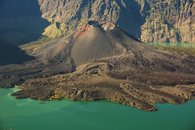 Jari Baru volcano. And lake inside Rinjani mountain, Lombok, Indonesia royalty free stock photography