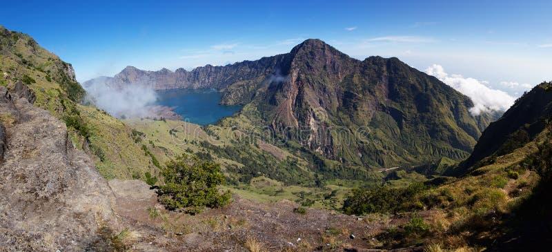 Jari Baru volcano. And lake inside Rinjani mountain panorama, Lombok stock photography