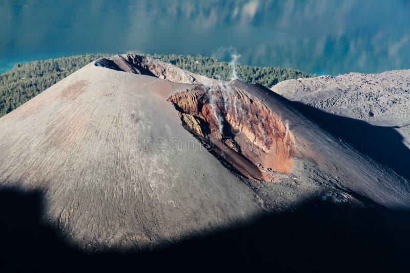 Jari Baru Volcano - Mt.Rinjani,Lombok, Indonesia. Detail View of Active Jari Baru Volcano and Lake Inside Rinjani mountain, Lombok, Indonesia, Asia royalty free stock image