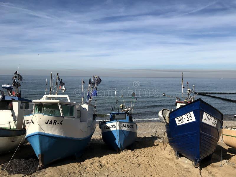 Fishing boats on the beach of Jaroslawiec Poland royalty free stock photo