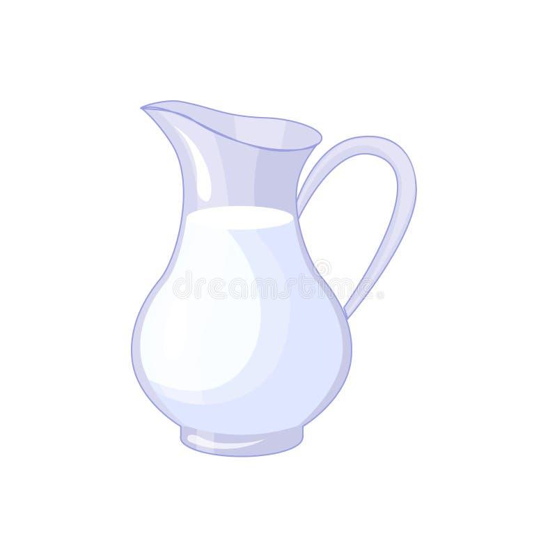 Jarra con la leche fresca, icono aislado producto basado libre illustration