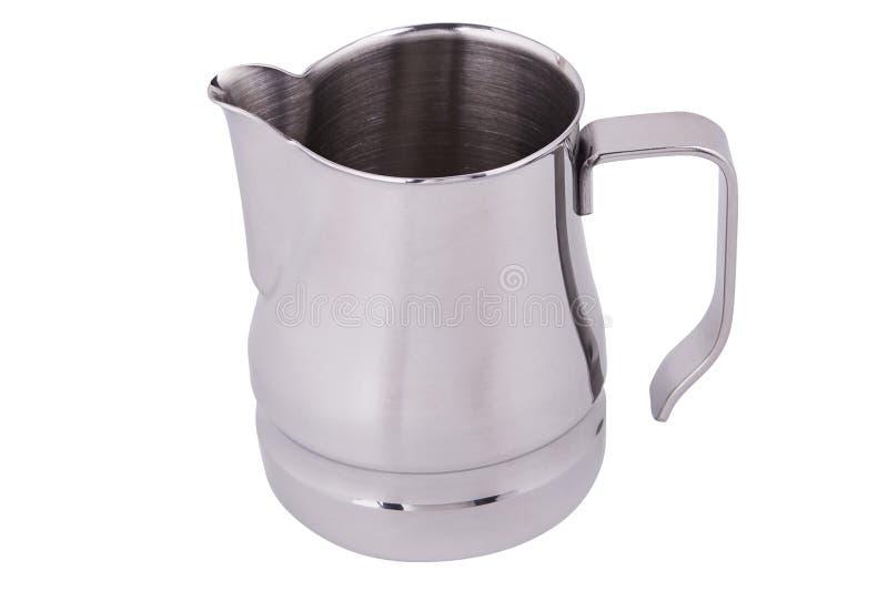 Jarra de acero inoxidable/jarro de la leche Jarro que hace espuma Arte del Latte para el barista fotografía de archivo
