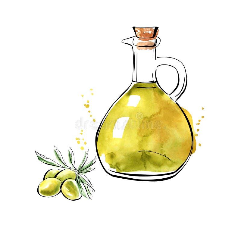 Jarra del aceite de oliva de la acuarela del vector ilustración del vector