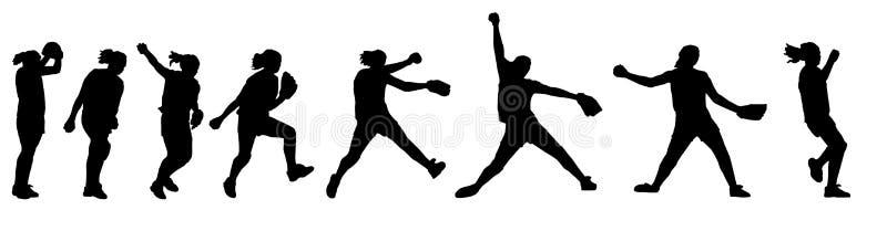 Jarra del beísbol con pelota blanda ilustración del vector
