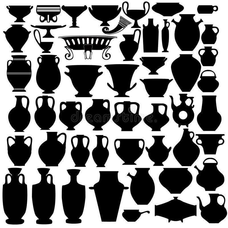 Jarra del jarro del tazón de fuente del florero ilustración del vector