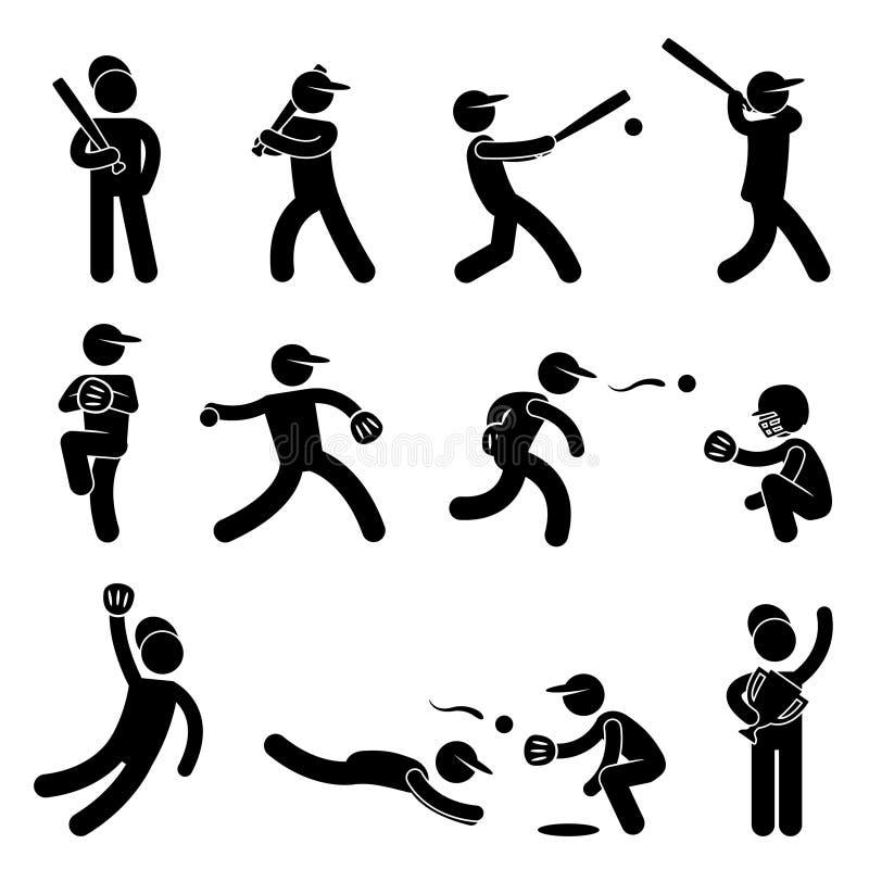 Jarra del oscilación del beísbol con pelota blanda del béisbol ilustración del vector