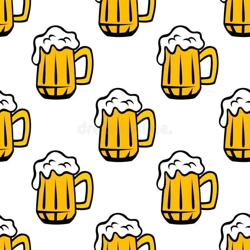 Jarras de cerveza de la cerveza o modelo inconsútil de las tazas stock de ilustración