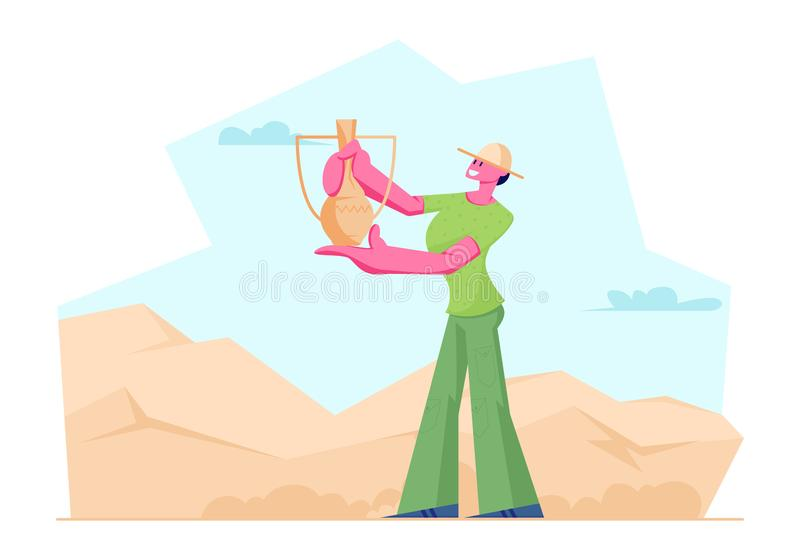 Jarro antiguo encontrado mujer del arqueólogo en desierto, científico Character Working en excavaciones y artefactos arqueológico libre illustration