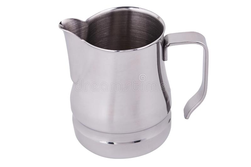 Jarro de aço inoxidável/jarro do leite r Arte do Latte para o barista fotografia de stock