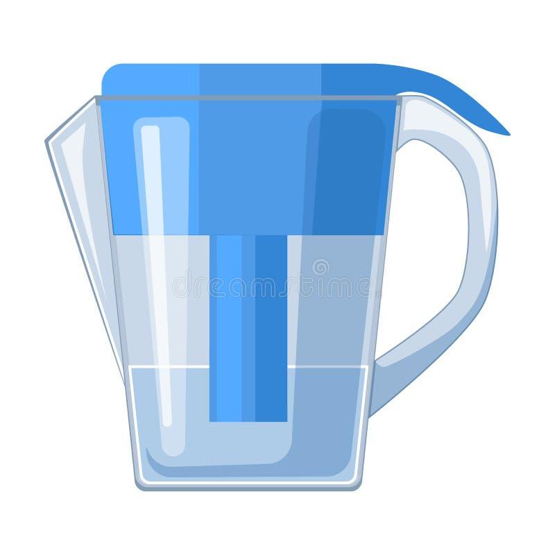 Jarro de agua con el icono del cartucho de filtro en estilo de la historieta aislado en el fondo blanco ilustración del vector