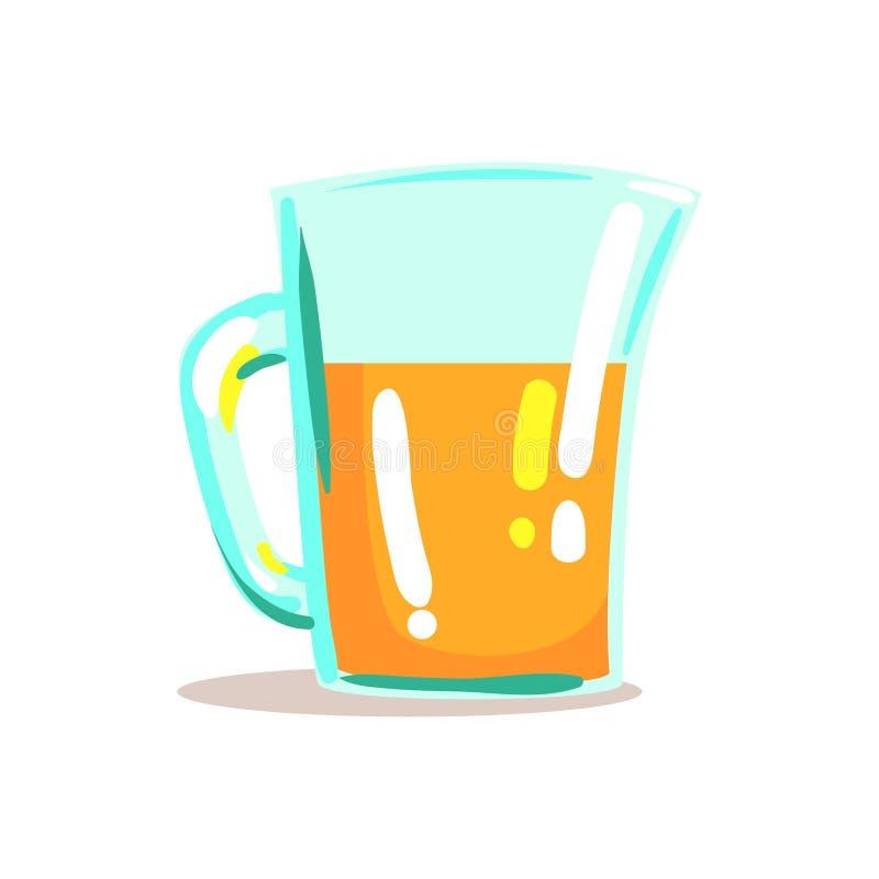Jarro de cristal con el ejemplo anaranjado exprimido fresco de Juice Drink Cool Style Bright stock de ilustración