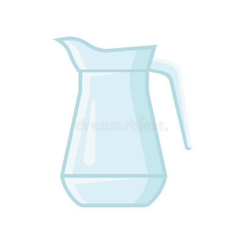 Jarro de cristal transparente para el agua o el jugo Buque con una manija Elemento plano del vector para la bandera o el cartel stock de ilustración