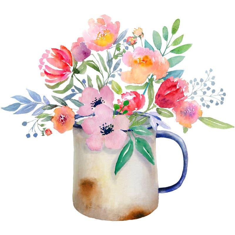 Jarro de la acuarela con las flores stock de ilustración