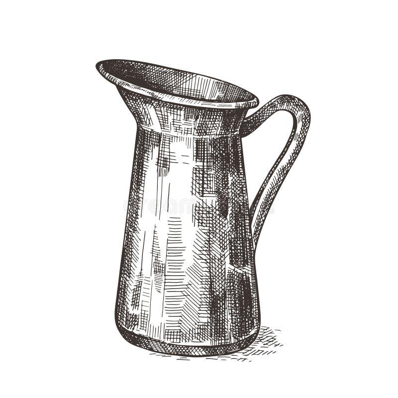 Jarro de leite Imagem do vetor gr?ficos do esbo?o Ilustra??o no estilo retro ilustração royalty free