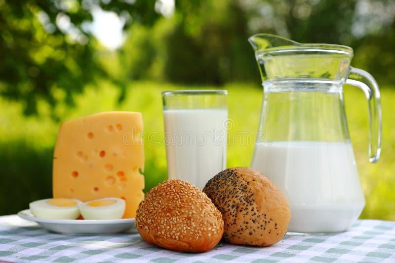 Jarro de leite, um vidro do leite, uma parte de queijo e de um ovo cortado em uma placa, um sésamo e um rolo da papoila imagem de stock