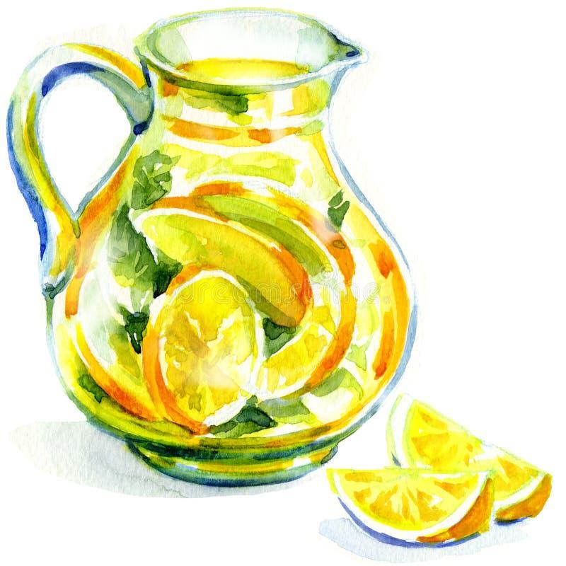 Jarro de limonada con la menta. pintura de la acuarela stock de ilustración