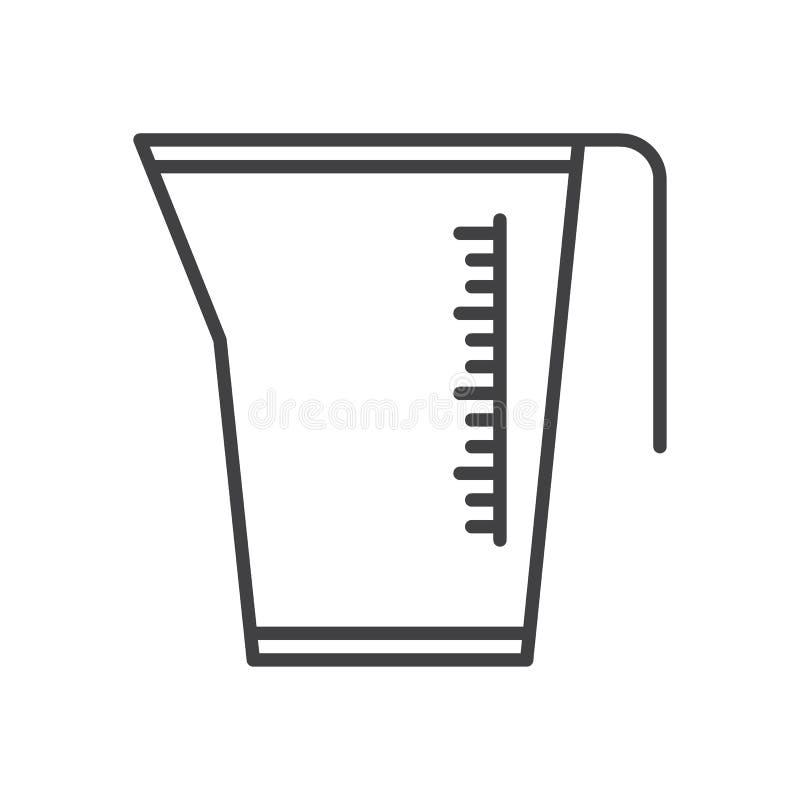 Jarro de medición, línea icono, muestra del vector del esquema, pictograma linear de la taza del estilo aislado en blanco stock de ilustración