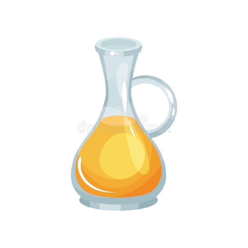 Jarro de vidro de óleo de colza fresco Produtos agrícolas naturais Comer saudável Garrafa transparente com líquido amarelo ilustração stock