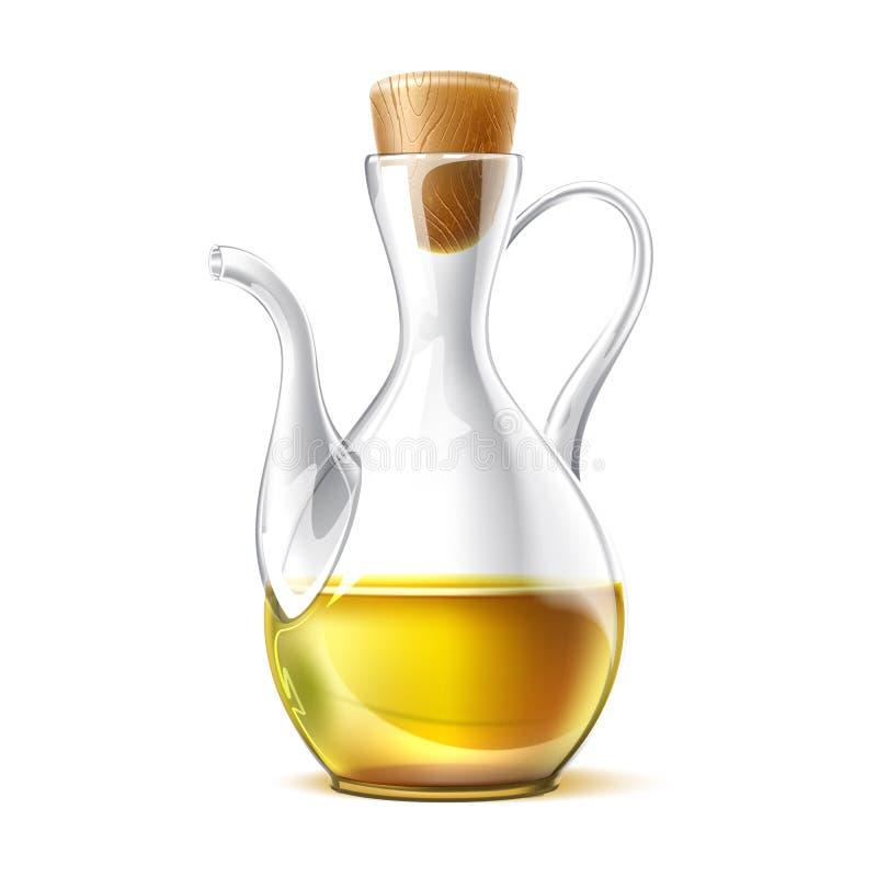 Jarro de vidro realístico do óleo virgem do vetor com cortiça ilustração stock