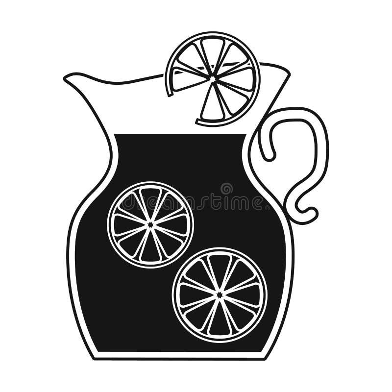 Jarro del icono de la limonada en estilo negro aislado en el fondo blanco Símbolo de la comida campestre libre illustration