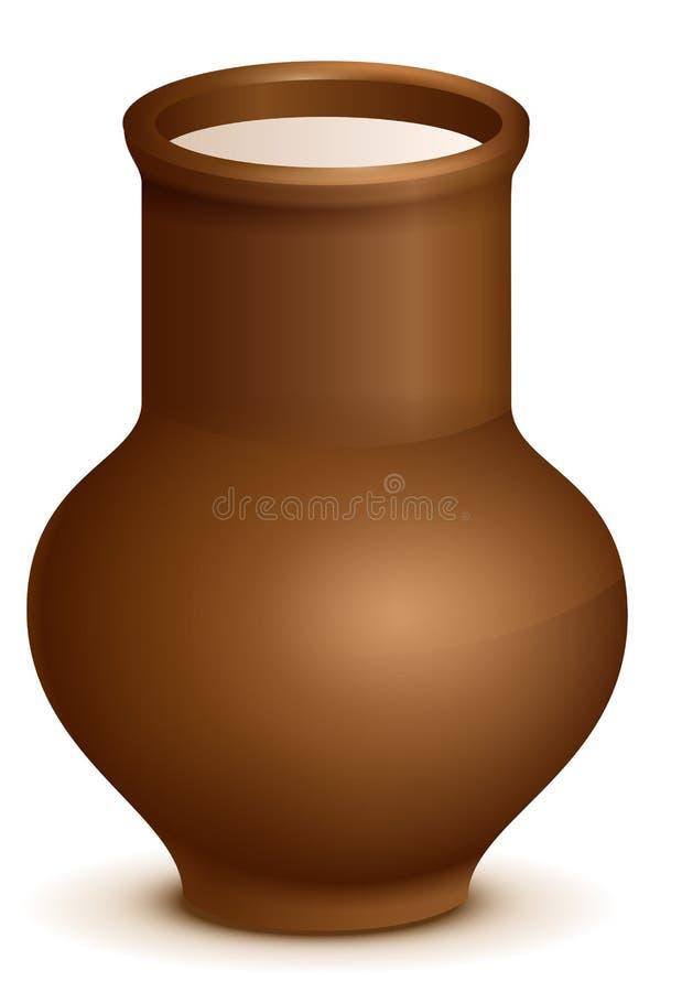 Jarro do jarro da cerâmica da argila completamente do leite ilustração do vetor